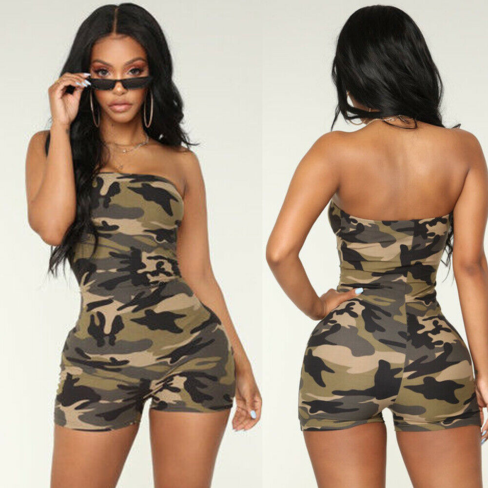 Hot Sale Women Casual Sleeveless Bodycon Romper Jumpsuit  Playsuit Off Shoulder Strapless Print Camouflage Rompers