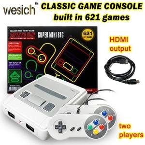 WESICH Retro Mini Classic TV Video Game Console Built-in 621 Games Handheld Gaming Player 4K TV AV/HDMI 8 Bit Children Gift