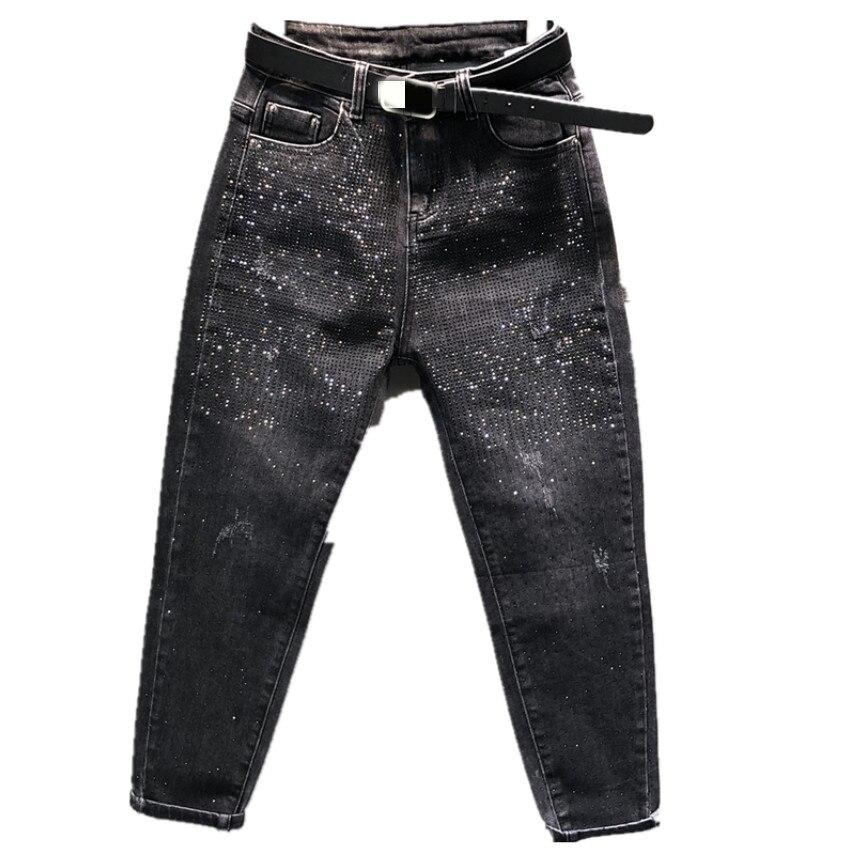 Jeans Women Harem Beading Diamond Boyfriend Jeans For Women Korean Spring Autumn Black Jeans
