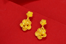 Fashion gold-plated sand gold vintage flower ladies earrings Chinese style wedding jewelry