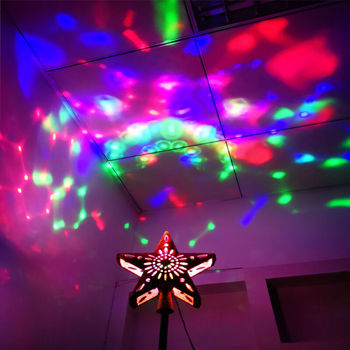 US 3D Hollow Star Christmas Tree Topper W/ LED Snowflake Projector Lights Decor