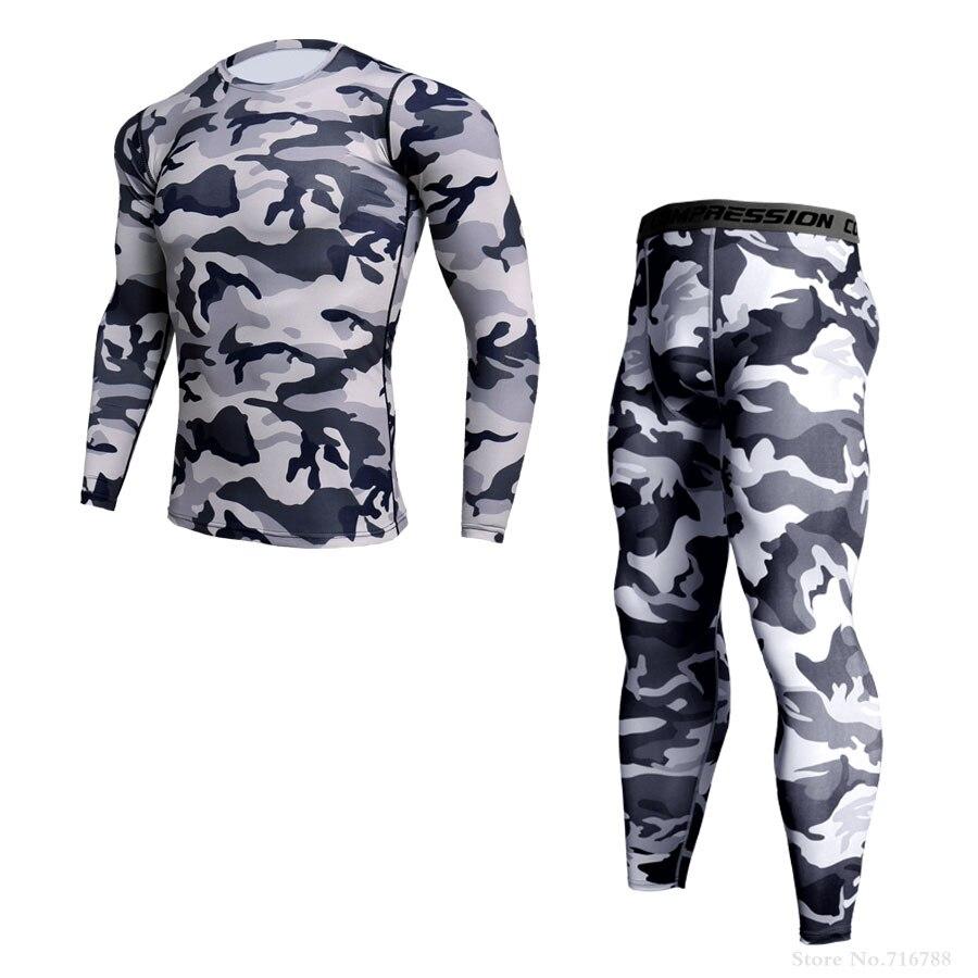 Термобелье мужское для бега компрессионная рубашка с длинным рукавом Леггинсы спортивные комплекты Бодибилдинг тренировочный костюм Рашг...