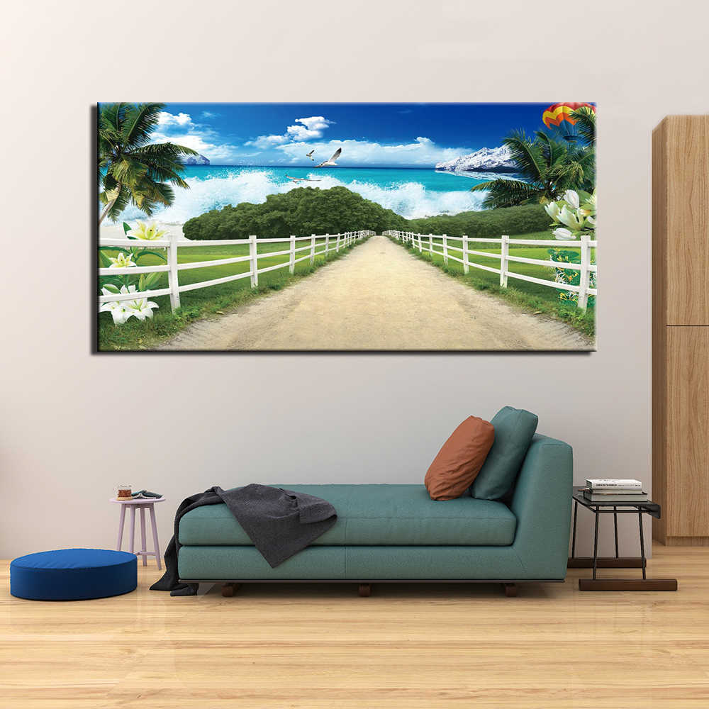 Canvas Print 1 Panel Wall Art Modular Landscape Picture Secenry Poster Beach Sky Painting for Living Room Wall Art Home Decor
