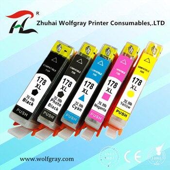 YI LE CAI 5PK Cartucho de Tinta compatível para HP 178 para HP178 178XL Impressora Photosmart 5510 5515 6510 7510 B109a B109n B110a|for hp178|ink cartridge|ink cartridge for hp -