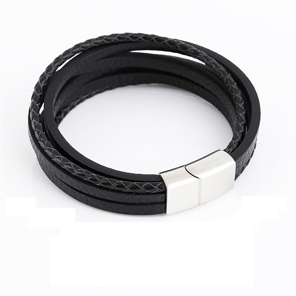 Мужской браслет, многослойный кожаный браслет с магнитной застежкой, Воловья кожа, плетеный многослойный браслет, модный браслет на руку, pulsera hombre