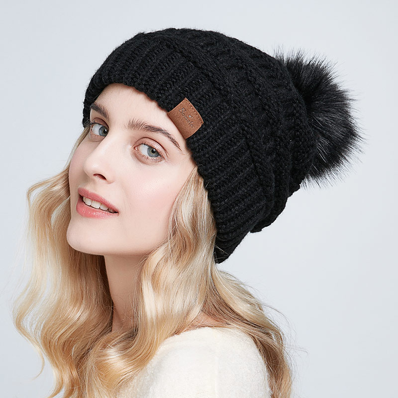 ENJOYFUR Slouchy Beanies Winter Hats For Women Knit Warm Caps For Female Baggy Hat With Faux Fox Fur Pompom