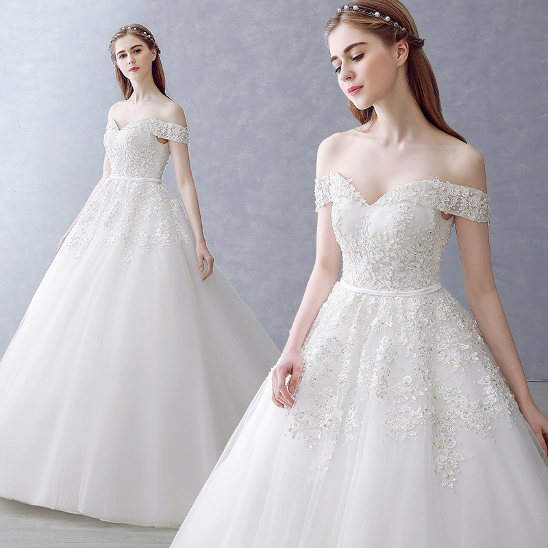Mrs Win Wedding Dress Elegant Boat Neck Court Train Ball Gown Off The Shoulder Princess Luxury Wedding Dress Plus Size