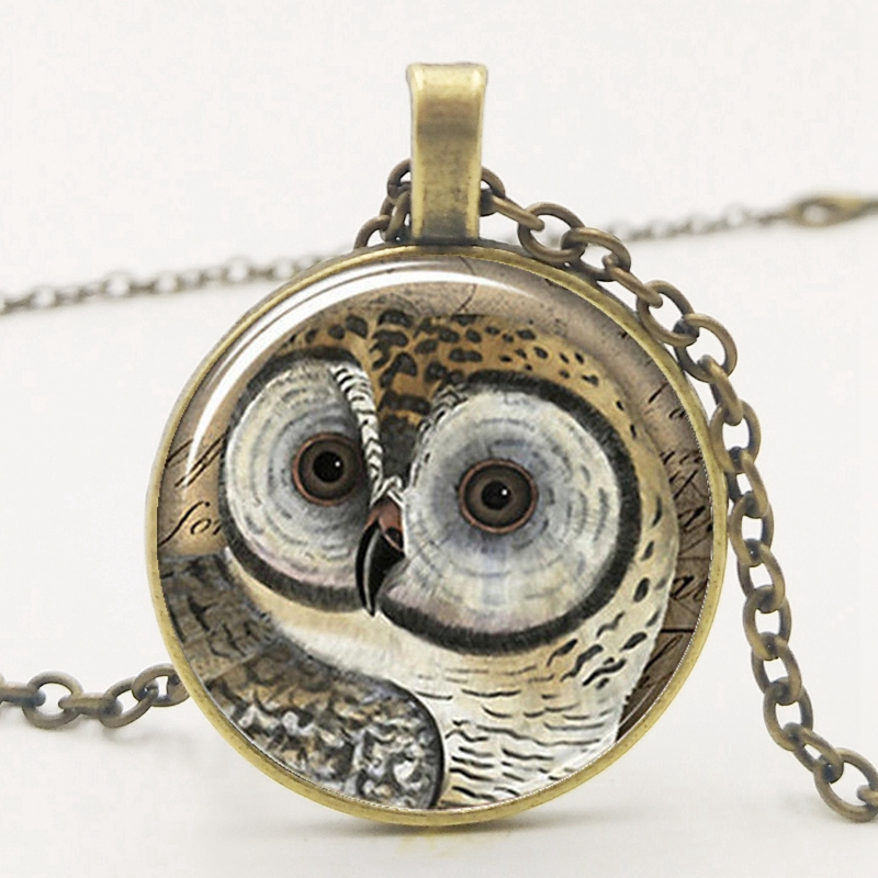 2019 New Cute Retro Owl Pendant Chain Necklace Convex Glass Necklace Pendant Owl Lovers Must have Necklace Gift in Pendant Necklaces from Jewelry Accessories