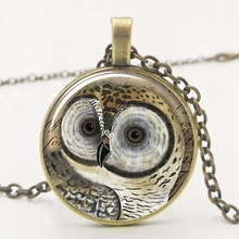 2019 New Cute Retro Owl Pendant Chain Necklace Convex Glass Necklace Pendant Owl Lovers Must-have Necklace Gift 2019 cute owl pendant and necklace tricolor long chain necklace retro glass cabochon gift ornament necklace