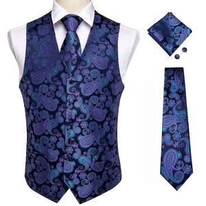 Image 4 - DiBanGu Top 9 styles Vest for Men Silver Red Orange Blue Mens Vest Suit Business Wedding Party Occasion Hanky Cufflinks Vests