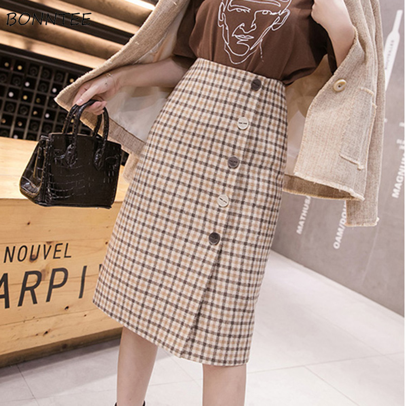 Skirts Women Vintage Plaid A-Line Slim All-match Korean Style High Waist Harajuku Streetwear Womens Mini Skirt Students Chic New