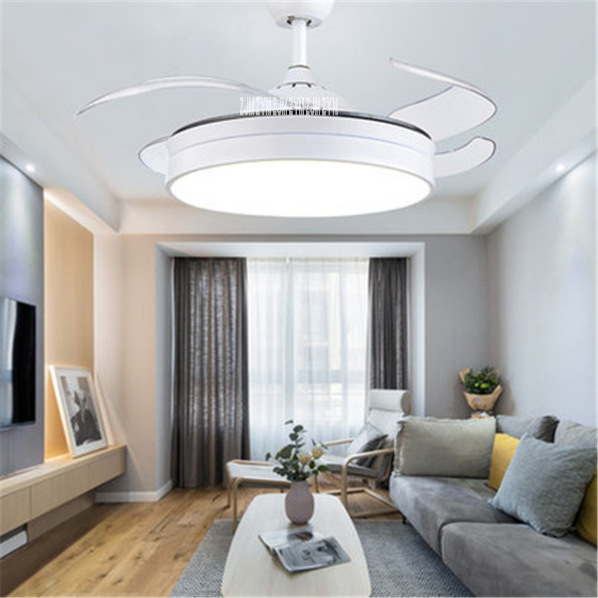 1079 42inch Simple Living Room Decoration Geometry Led Invisible Ceiling Fan Light Remote Control Led Pendant Fan 110/220v Moderate Price