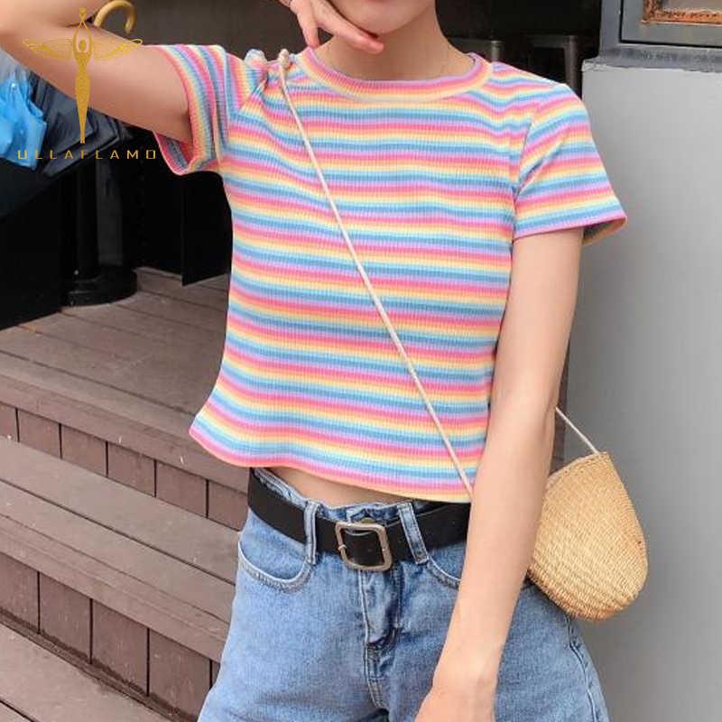 Tシャツ女性綿虹ストライプトップス原宿tシャツ夏半袖へそスキニーステッチ韓国パンククロップトップ女性