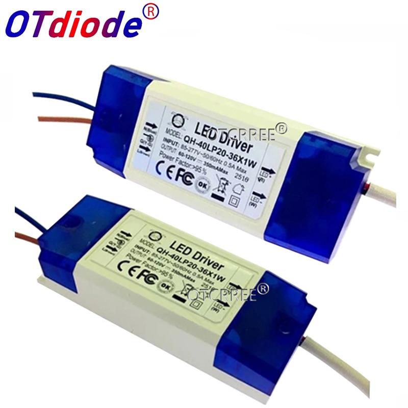 1pcs AC 85-277V 20W 30W 36W LED Driver 20-36x1W 350mA DC60-120V High Power LED Powr Supply For Floodlight
