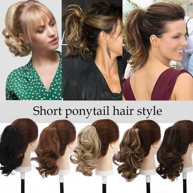 S-noilite Short Wavy Ponytail Claw Jaw in Hairpiece Synthetic Clip in Hair tail for women Black Brown Pony Tail 6