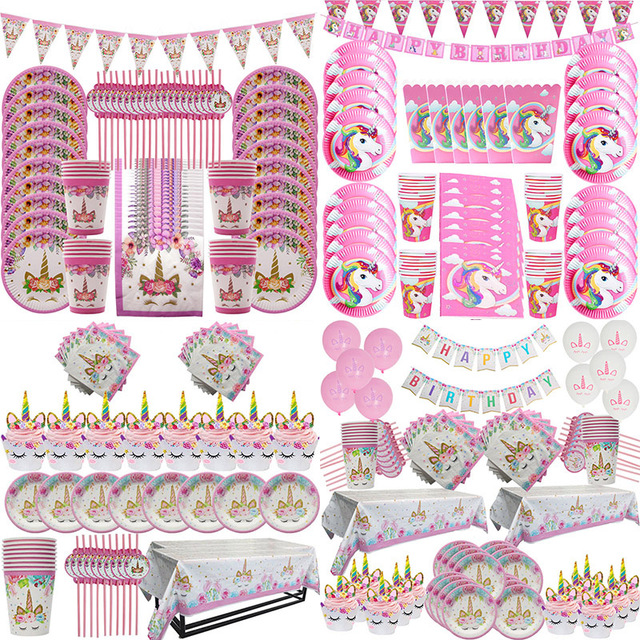 51/81pcs Unicorn Party Supplies Kids Birthday Decoration Disposable Tableware Set Paper Plates Cup Banner Baby Shower Girl Decor