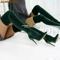 ALMUDENA Dark Green Velvet Pointed Toe Over The Knee Boots Thin High Heels Slim Fit Skinny Thigh High Boots Women Long Boots