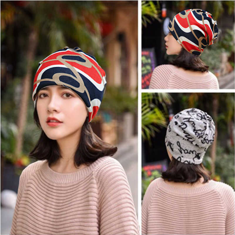 M MISM Hot Sale Multifunctional Women's Hat Scarf Striped Hip Hop Cap Spring Autumn Snapback Cap for Woman Circle Beanie Cap