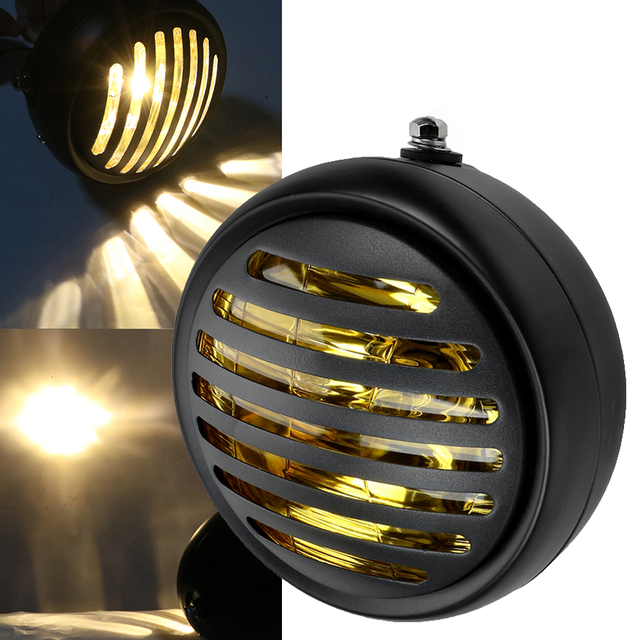 1PC Motorcycle Headlight Black Metal Retro Headlight 35W Front Light 12V Fits for Cafe Racer CG125 GN125 1