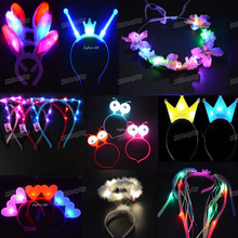 Hairband Glow-Light Cat-Head-Bands Crown Party-Hair Led-Flashing Birthday Home-Decor