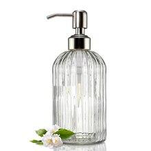Soap-Dispenser Shampoo Bottle Soap-Accessories-Set Chrome-Pump Glass Bathroom Kitchen
