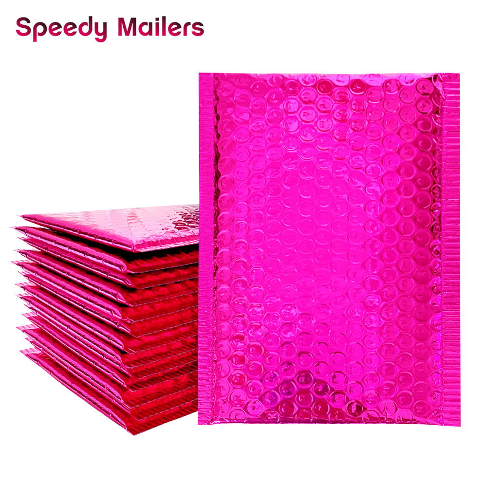 10pcs Rose Pink Foil Bubble Bags Metallic Bubble Mailers Aluminized Postal Bags Wedding/Gift Packaging Padded Shipping Envelopes