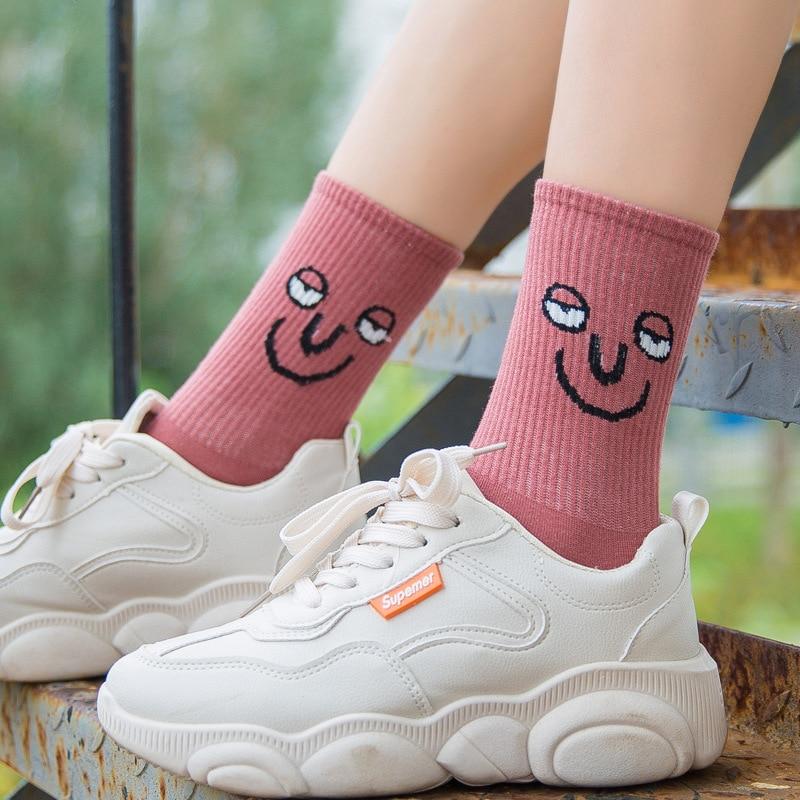 kawaii socks Unisex Surprise Mid Women Socks Colorful Funny Socks girl Korea Funky Harajuku Trend Women 2019 funny face socks