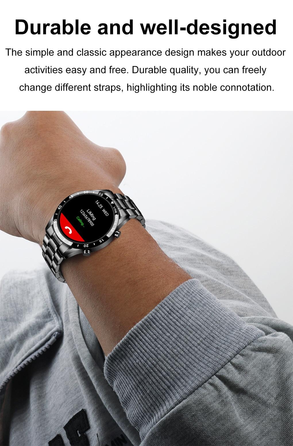 Hdca02b619ce042c89f47fe31501a802dQ LIGE 2021 Full circle touch screen steel Band luxury Bluetooth call Men smart watch Waterproof Sport Activity fitness watch+box
