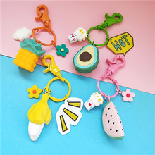 New Creative Banana Avocado Pineapple Key chain Simulation Fruit silicone Keychains Suitable For Womens Jewelry Keyring Gifts