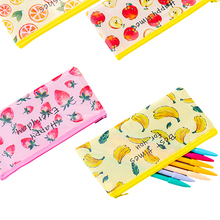 1Pcs/lot Kawaii Fruit grid zipper pencil case student stationery zipper pencil bag Stationery [newtall] adventure time jake the dog pencil case organizer wallet magic stick cover double zipper stationery bag t1384