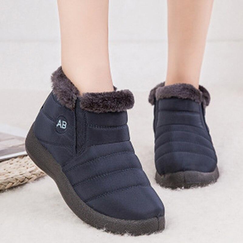Botas de nieve para mujer invierno 2019 botas de tobillo cálidas para mujer zapatos de invierno impermeables para mujer botas ligeras suaves para mujer talla grande 43 Botas de nieve    - AliExpress