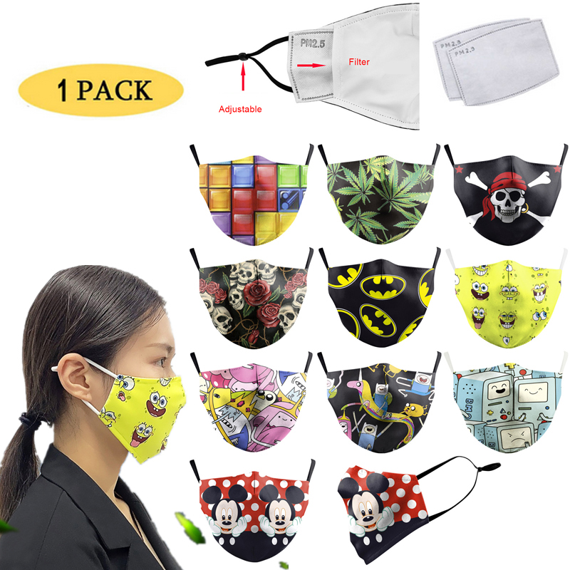 1pc Cartoon Reusable Adult PM2.5 Filter Printing Mouth Mask Anti Dust Face Mask Windproof Mouth-muffle Bacteria Proof Flu Mask