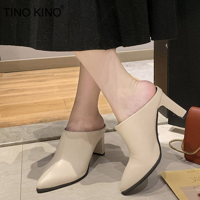 Slingback Shoes Mules High-Heel Square Pointed-Toe Fashion Ladies New Autumn Slip Soft