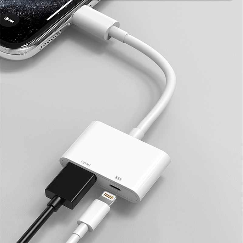 For IPad IPhone To HDMI Adapter 1080P AV Adapter Lightning To HDMI Cable Adapter For IPhone HDMI Adapter Cable For IPhone To TV