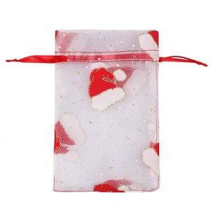 Image 4 - 100 adet 10X15 13X18cm Renkli kırmızı beyaz Noel organze çanta Gazlı Bez Eleman takı çantaları Ambalaj drawable Organze hediye keseleri 55