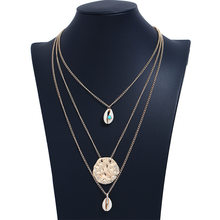 Ornament irregular geometry polygon alloy multilayer shell conch beach Necklace()