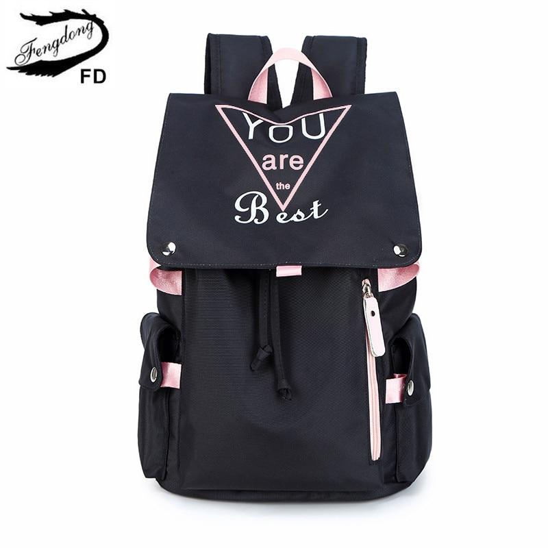 FengDong Teenage Girls School Bags Fashion Black Pink Large School Backpack Waterproof Book Bag Student Girl Luminous Backpack