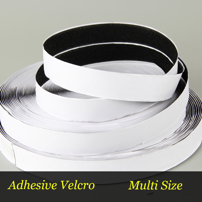 1Meter Black White velcros Adhesive Double Hook And Loop Fastener Tape Nylon Multi-sizes Magic Sticker Tape With Strong Glue