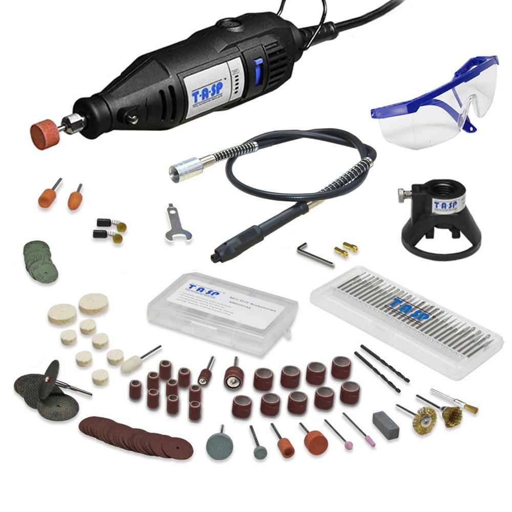 220V 130W Mini taladro eléctrico Herramienta giratoria y eje flexible 140pcs Accesorios de broca abrasiva Dremel Style Grabado Pulido