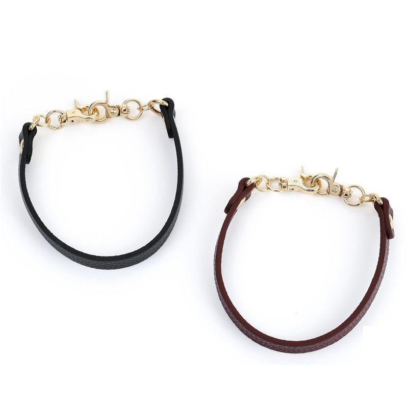 Bag Handle 30cm Bag Strap Buckles Short PU Leather Handbags Shoulder Strap Bag Belt Replacement Belt Handle Strap Black Belts
