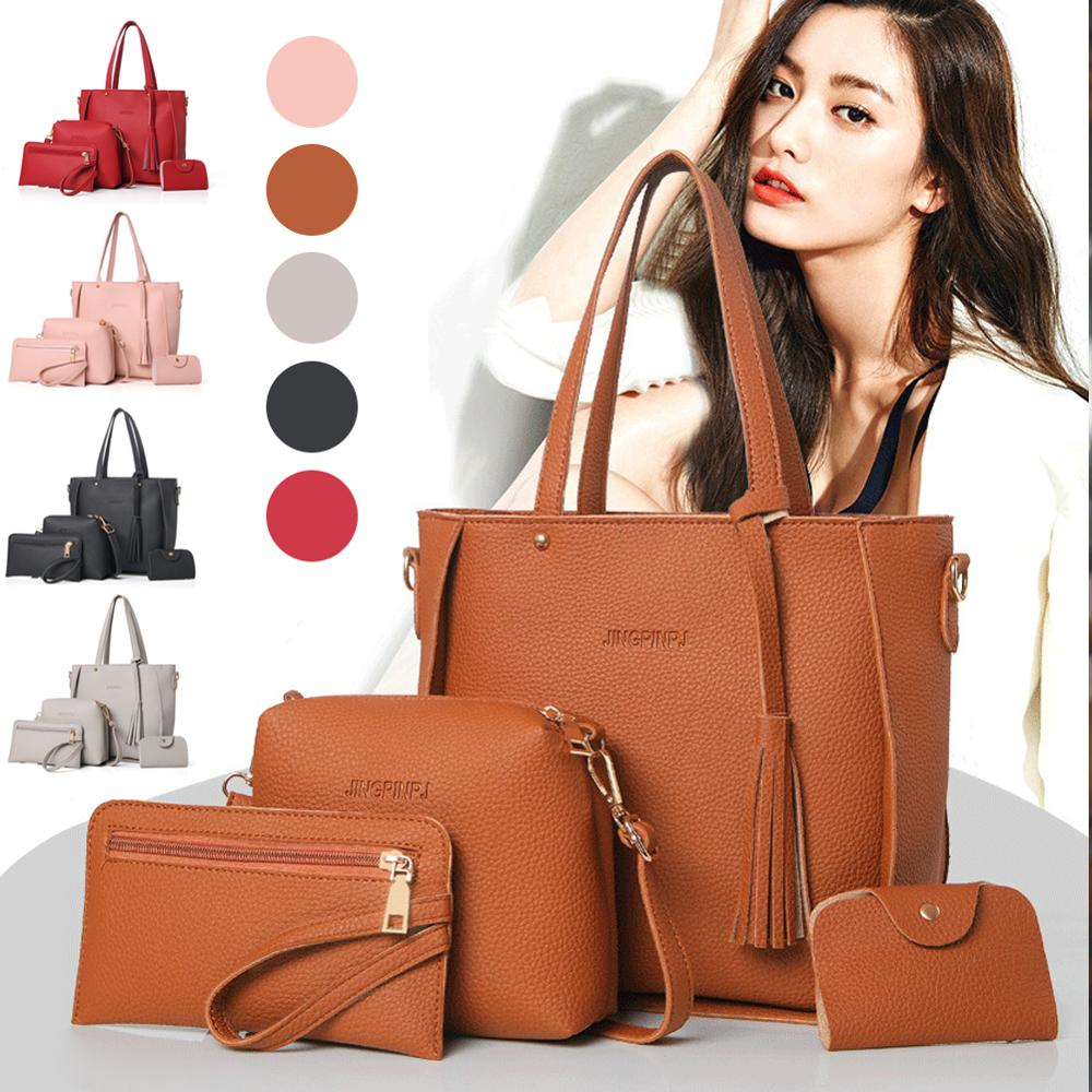 4Pcs/Set Fashion Women Bags PU Large Capacity Purse Handbag Wallets Coin Card Package Ladies Shoulder Bag