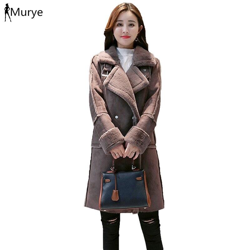 Hiver femme manteau en peau de mouton agneau fourrure manteau en cuir veste outwear longue épaissir vêtements de neige poche tourner vers le bas col femmes vêtements