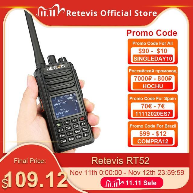 RETEVIS RT52 DMR Radio Digital Walkie Talkie Dual PTT Dual Band DMR VHF UHF GPS Two Way Radio Encrypted Ham Amateur Radio +Cable