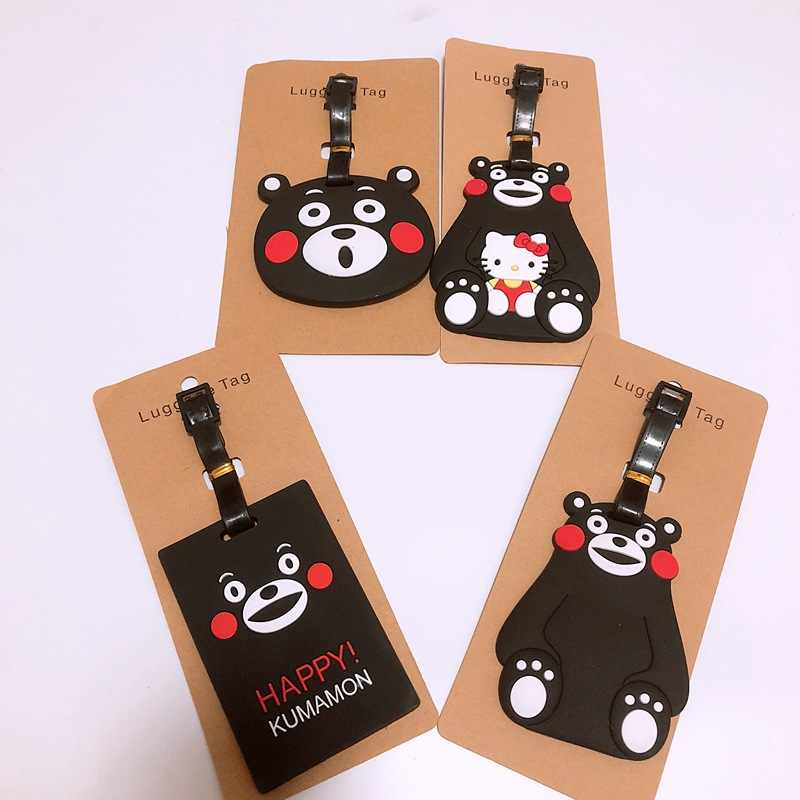 suitcase tag Cute Cartoon Bears Bear Luggage Tag Silica Gel Suitcase ID Address Holder Label Travel Accessories