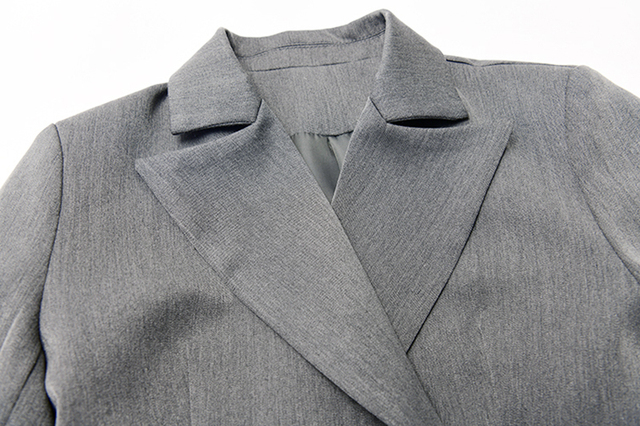 [EAM] Loose Fit Gray Asymmetrical Stitch Two Piece Jacket New Lapel Long Sleeve Women Coat Fashion Tide Spring 2020 1R741