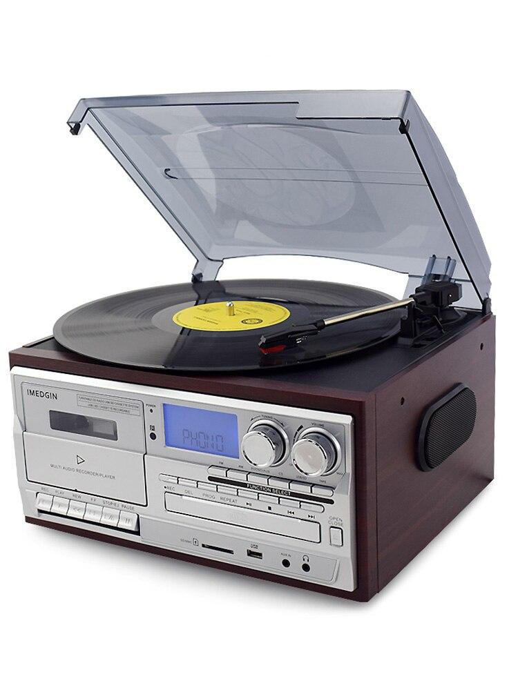 Lecteur de disque vinyle Bluetooth LP tourne-disque CD/Cassette/Radio/USB avec haut-parleurs