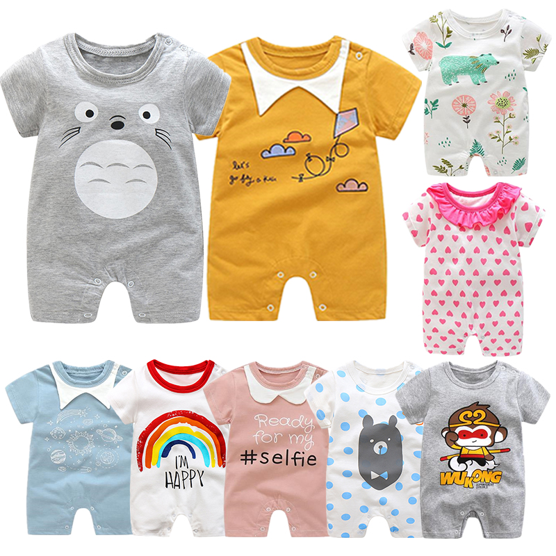 Summer New Style Short Sleeved Girls Dress Baby Romper Cotton Newborn Body Suit Baby Pajama Boys Animal Monkey Rompers 2020 hot(China)