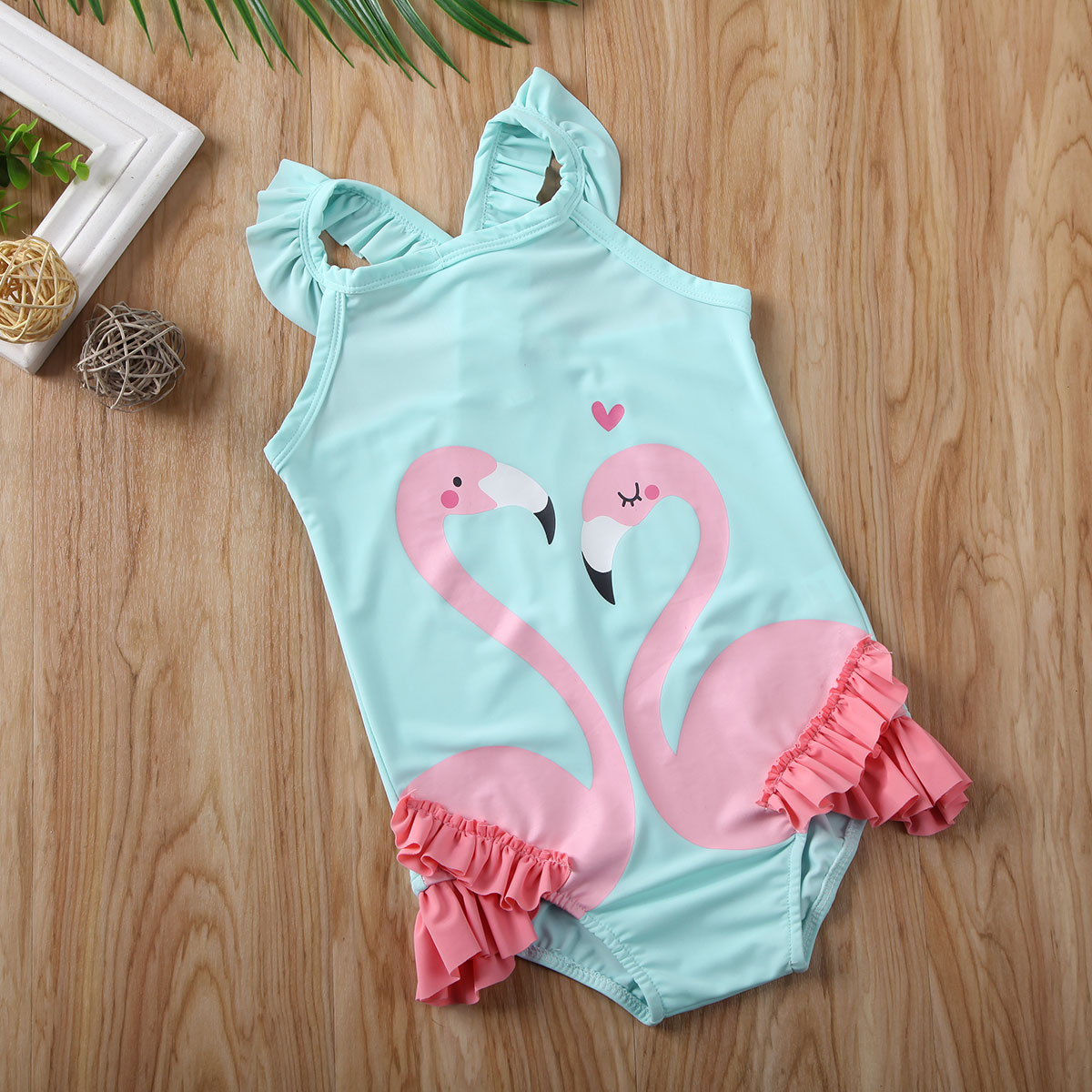 Pudcoco Toddler Baby Girl Clothes Flamingo Print Swimming Costume Bikini Swimwear Swimsuit Beachwear Clothes