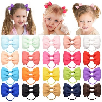 20Pcs/lot Solid Grosgrain Ribbon Bows For Baby Girls Ponytail Holder Hair Bands Elastic Rope Handmade Headband Hair Accessories 1