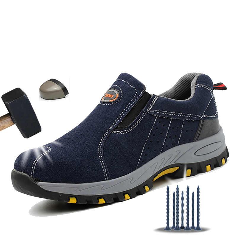 Manlegu Mannen Lederen Laars Veiligheidsschoenen Met Stalen Neus Schoenen Winter Mannen Werkschoenen Laarzen Geen Slip Ademend Veiligheid sneakers